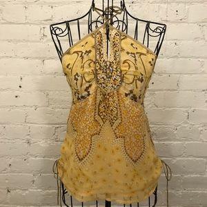 NWOT Banana Republic Women Yellow Silk Halter Top